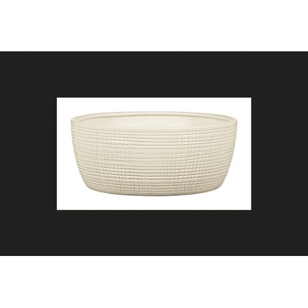 Scheurich 3.5 in. H x 8.25 in. Dia. Vanilla Cream Ceramic Low Bowl - Scheurich Pottery