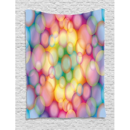 Modern Tapestry, Colorful Hazy Balls Circular Hoops Bubbles Bright Rainbow Style Dreamy Art Print, Wall Hanging for Bedroom Living Room Dorm Decor, 40W X 60L Inches, Multicolor, by Ambesonne