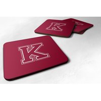 Set of 4 Monogram - Maroon and White Foam Coasters Initial Letter K