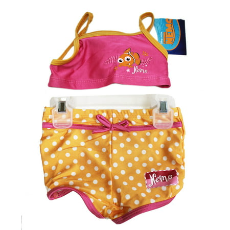 Disney Pixar's Finding Nemo Pink and Orange Two Piece Swimsuit (Size 2 Months) Swimming is a blast with Nemo! ; Finding Nemo girls swimsuit; Size 24 months; Made from polyester and spandex; Ideal for little girls who love Finding Nemo or Dory; Finding Nemo girls swimsuit Officially licensed product Size 24 months Made from polyester and spandex Ideal for little girls who love Finding Nemo or Dory