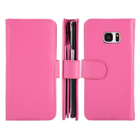 premium selection 6eee6 c8103 Samsung Galaxy S7 Edge Case, by Insten Full Size Leather Wallet Credit Card  Case Cover For Samsung Galaxy S7 Edge - Hot Pink