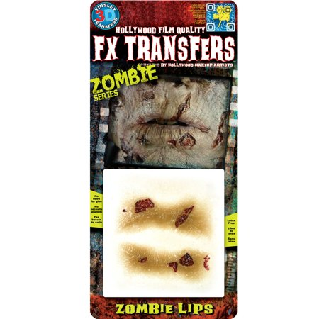 Tinsley Halloween Zombie Lips 3D FX Transfer Tattoo - Sewn Lips Halloween