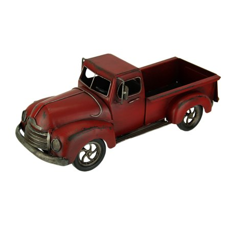 - Hand Painted Vintage Red Pickup Truck Metal Statue