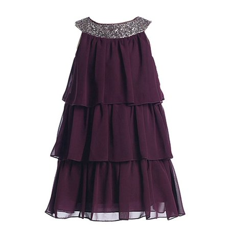 Sweet Kids Little Girls Plum Sequined Neck Tiered Flower Girl Dress 2T-6 (Plumb Dress)