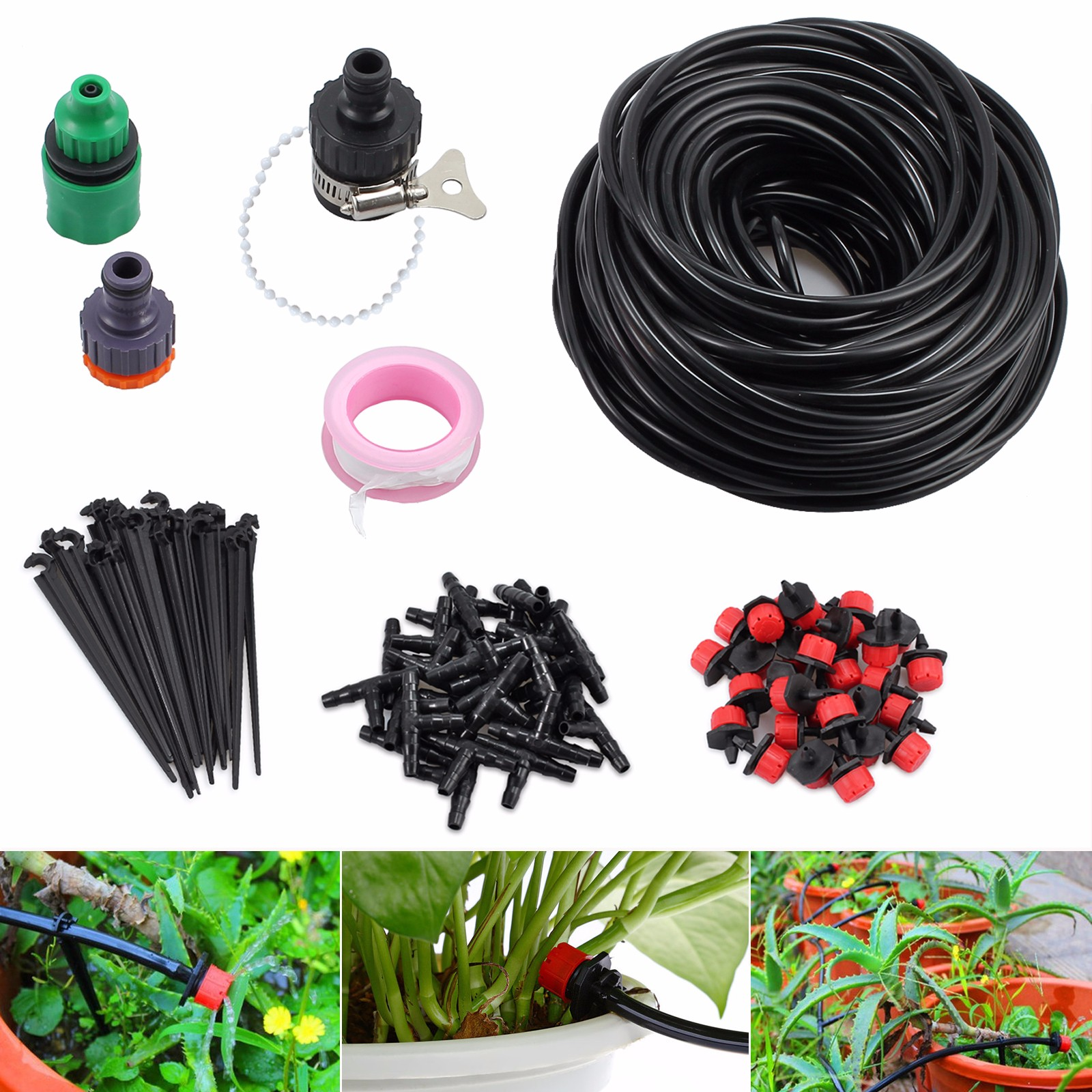 Esynic 25m Drip Irrigation System Kit Automatic Watering Drip Diy