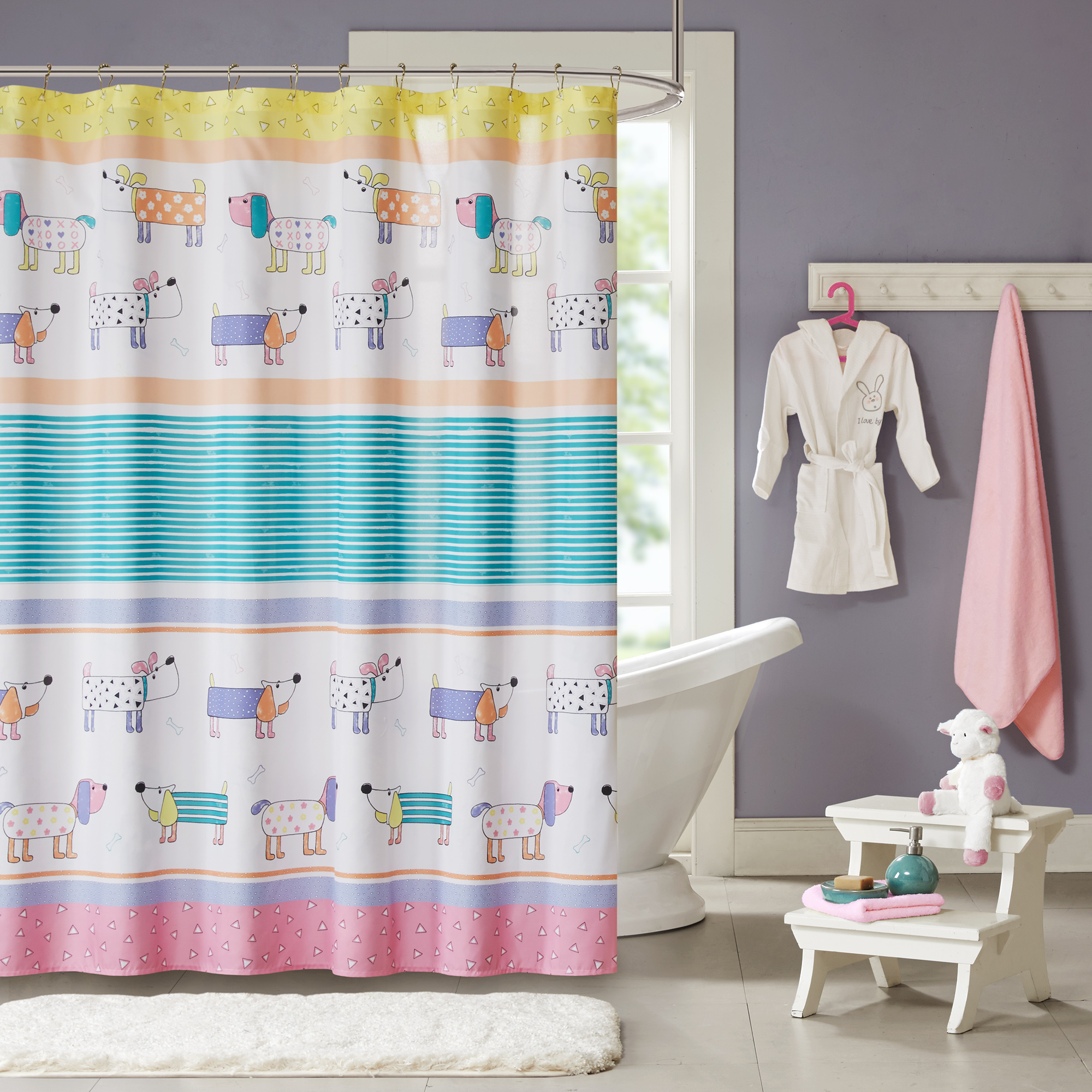 Home Essence Kids Chowder Printed Shower Curtain