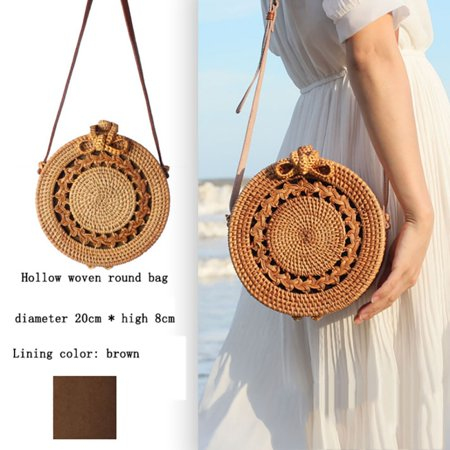 Handwoven Round Bag Rattan Bag Shoulder Leather Straps Natural Chic Handbag