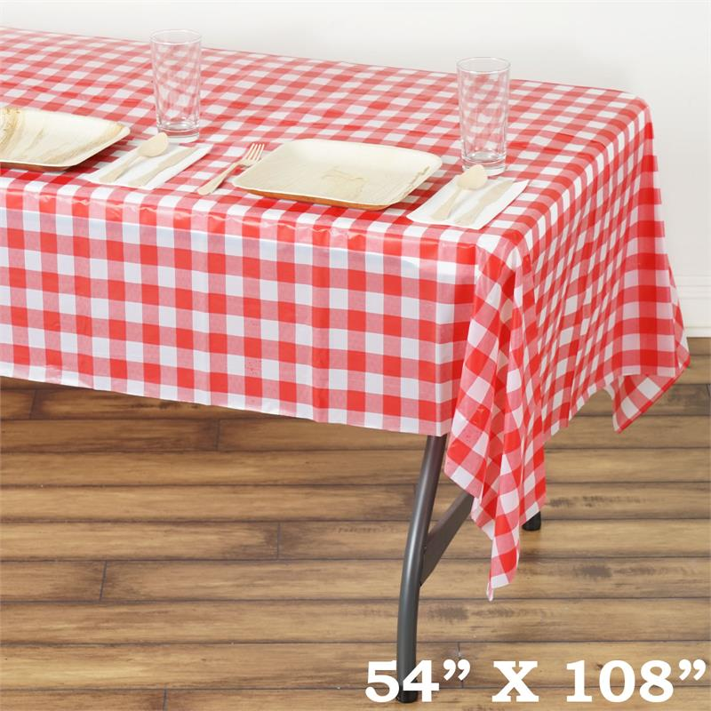 """BalsaCircle 54"""" x 108"""" Rectangular Checkered Disposable Plastic Tablecloths - Party Picnic Table Covers Decorations"""