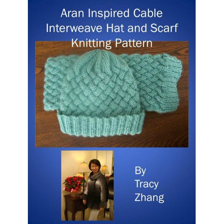 Aran Inspired Cable Interweave Hat and Scarf Knitting Pattern -