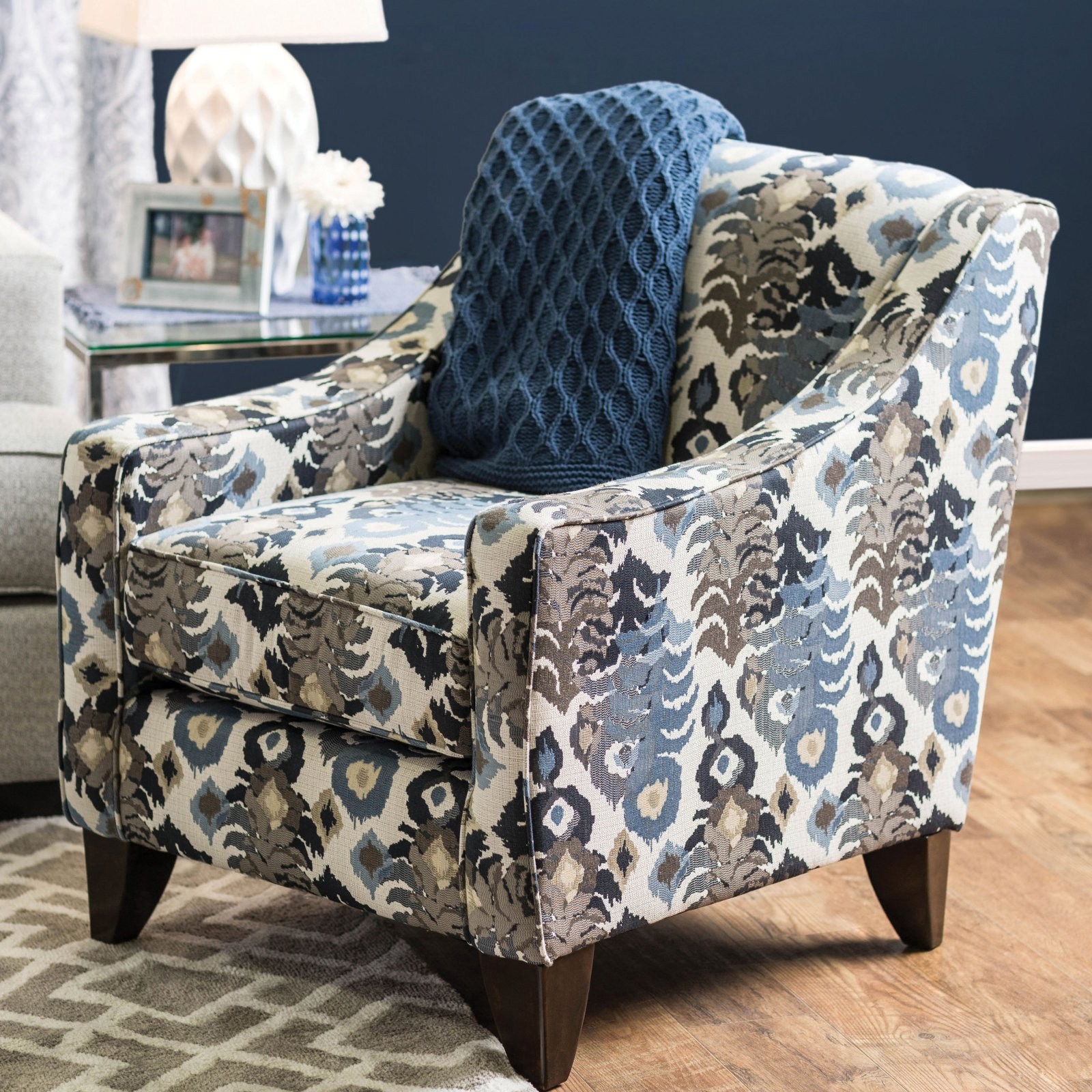 Furniture of America Peyton Floral Accent Wingback Chair