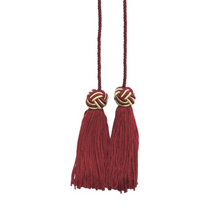 Cherry Red, Light Gold Double Tassel / Tassel Tie with 3.75 inch Tassels / Spread 27