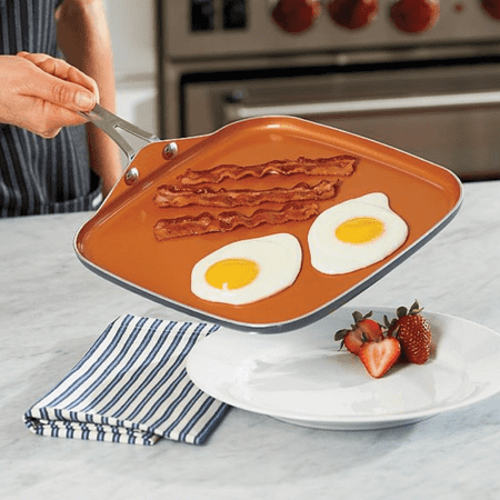 "Gotham Steel Nonstick Griddle Pan – 10.5"" Griddle Perfect for making Eggs, Pancakes, Bacon and More – Coated with Ceramic and Titanium, Dishwasher Safe with Stay Cool Stainless Steel Handles"