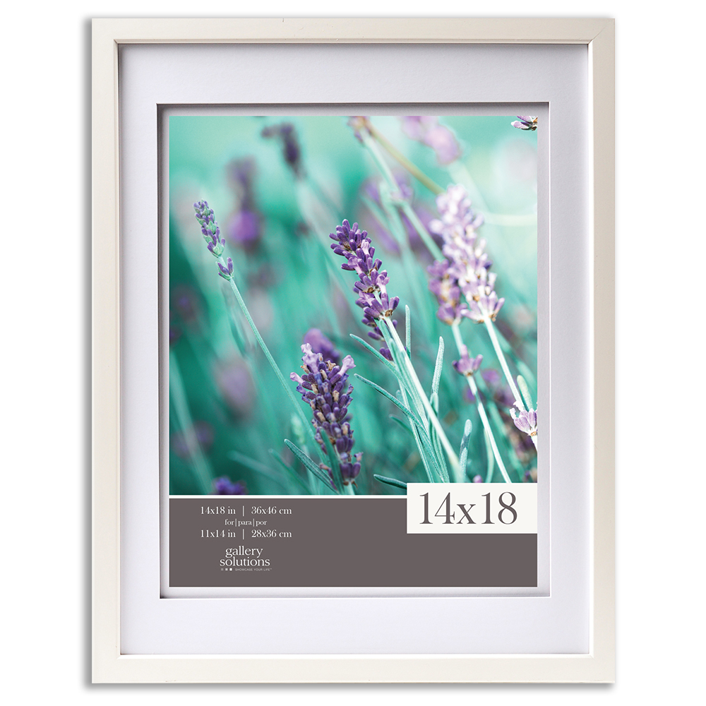 Gallery Solutions 14x18 White Wood Wall Frame with Double White Mat For 11x14 IMage by Pinnacle Frames and Accents