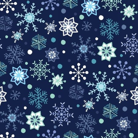 Clearance Sale~Snow Happy~Christmas Snowflakes/Dark Blue Cotton Fabric by Studio E](Christmas Fabric)
