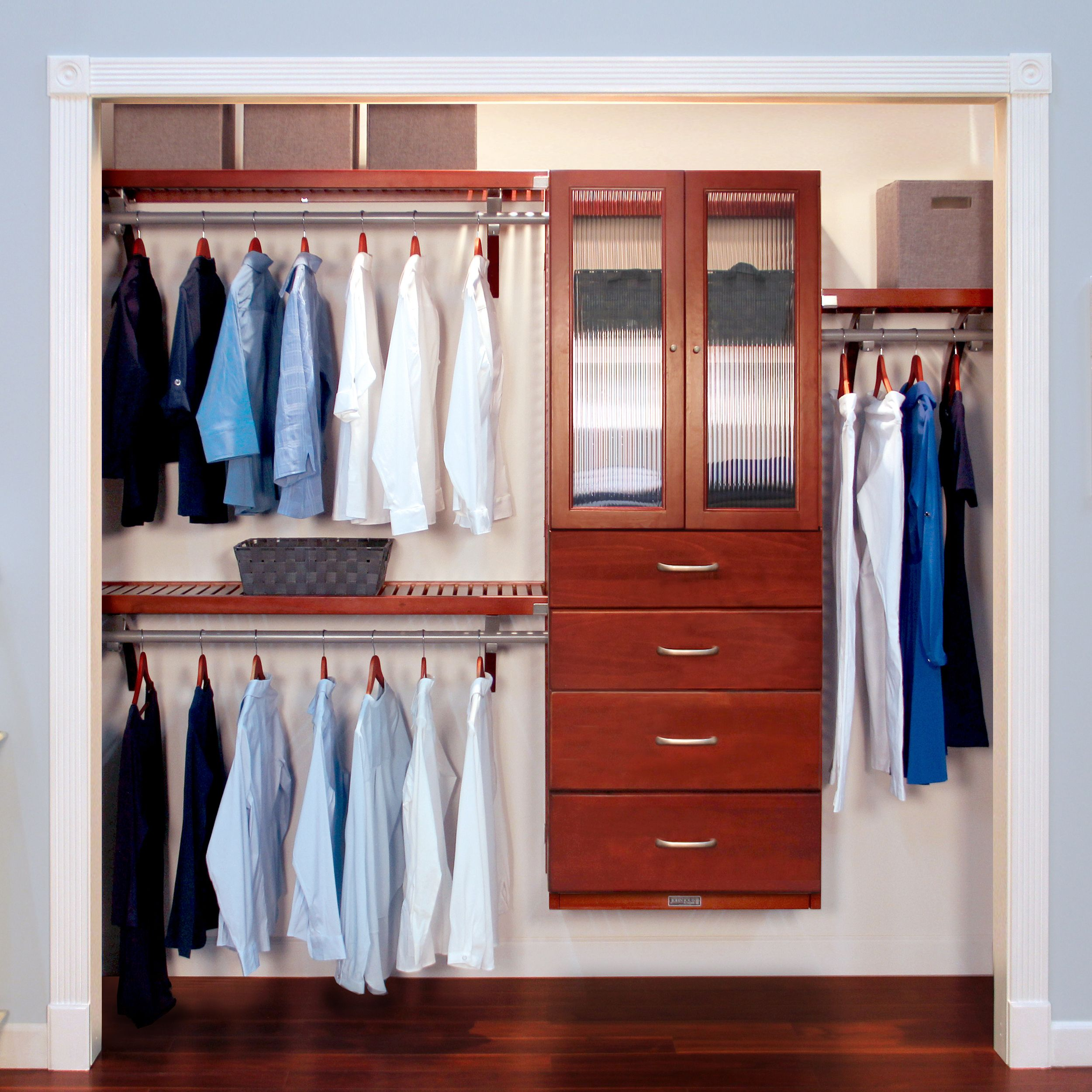 Deluxe Closet System Door and Drawer Kit Red Mahogany
