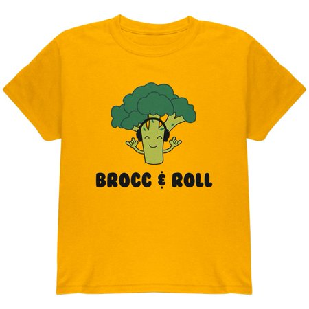 Vegetable Broccoli Rock Brocc and Roll Funny Youth T Shirt (Youth Phase Rock)