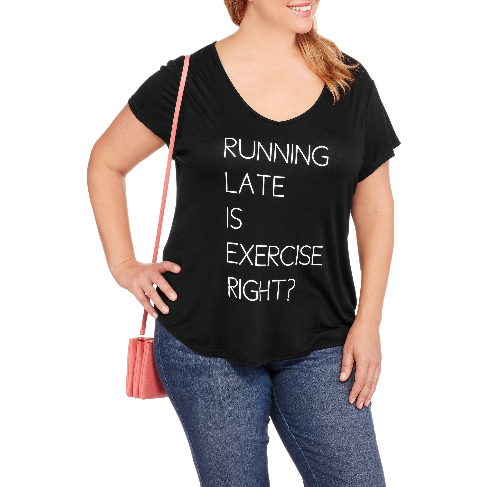 Fitspiration Women's Plus 'Running Late' Short Sleeve V-Neck Active Graphic T-Shirt