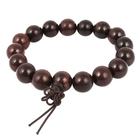 (Unique Bargains Wooden 17 Round Beads 12mm Diameter Buddhism Buddhist Bead Bracelet Dark Red)