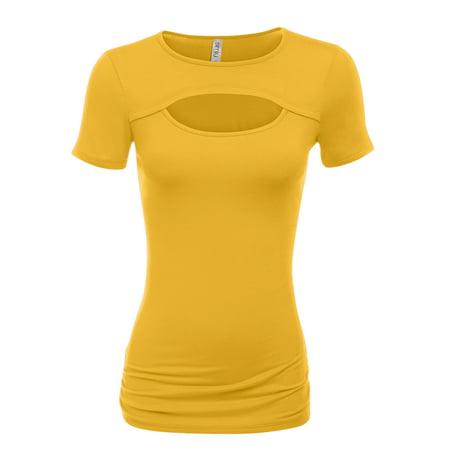 Simlu Mustard Womens Keyhole Top Short Sleeve Tops- Made in USA