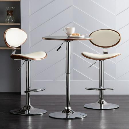 LumiSource Torrioni Cream Leather Adjustable Swivel Bar Stools Set of 2