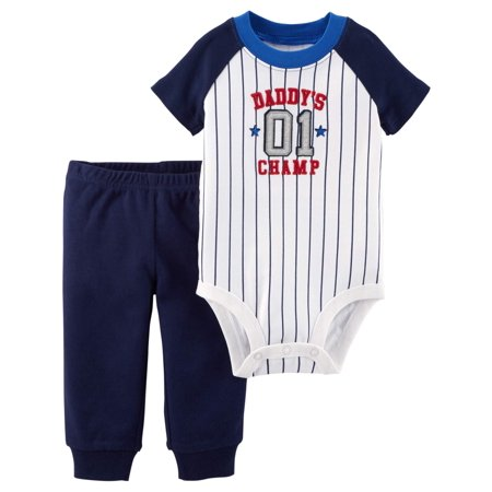 Baby Boy Short Sleeve Bodysuit & Pants, 2pc Outfit Set - Toddler Boy Valentine Outfit