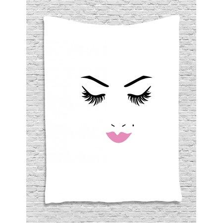 d0f8a1a0a843 Eyelash Tapestry, Closed Eyes Pink Lipstick Glamor Makeup Cosmetics Beauty  Feminine Design, Wall Hanging for Bedroom Living Room Dorm Decor, Fuchsia  ...