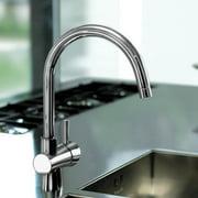 Slim Kitchen Sink Faucet w High Swivel Spout (Chrome)