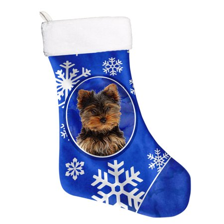 Winter Snowflakes Holiday Yorkie Puppy / Yorkshire Terrier Christmas Stocking