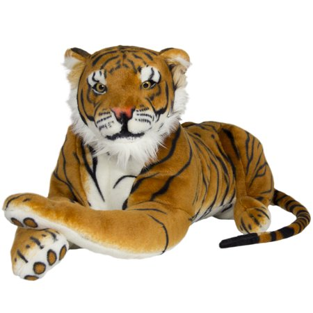 Best Choice Products 27in Large Realistic Soft Stuffed Plush Animal Tiger Cat Bengal Toy Pillow Pet - Orange