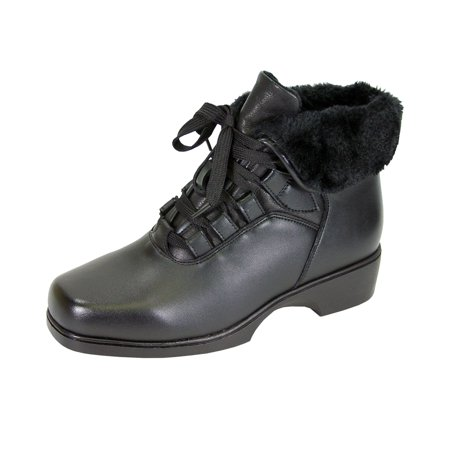 PEERAGE Paola Women Extra Wide Width Water Resistant Lace Up Leather Bootie with Fleece Lining BLACK - Witch Booties
