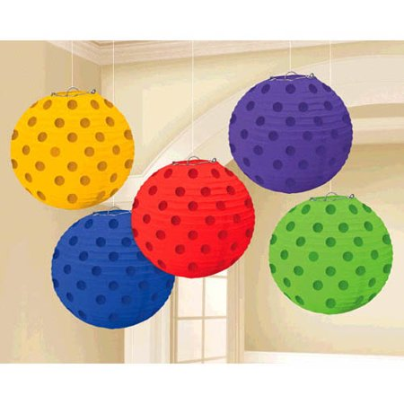 Multi-Colored Dark Rainbow Polka Dots Mini Paper Lanterns (5ct) (Lantern Paper)