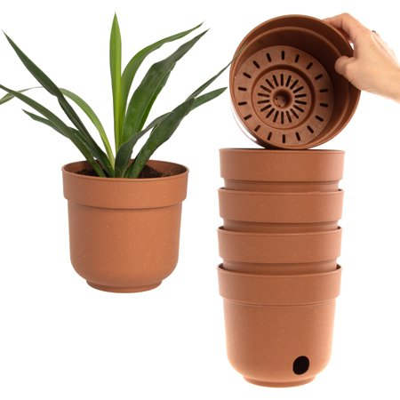 Garden Artist (6 Pack) 6.5 Inch Self Watering Planter Indoor Outdoor Planters Flower Pot With Drainage Hole