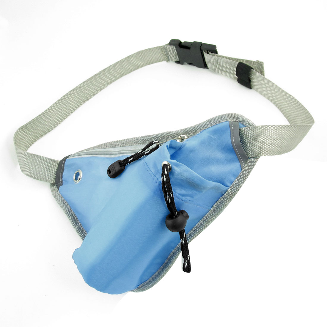 Men 2 Pockets Zipper Closure Folded Close Fitting Waist Pack Bag Blue