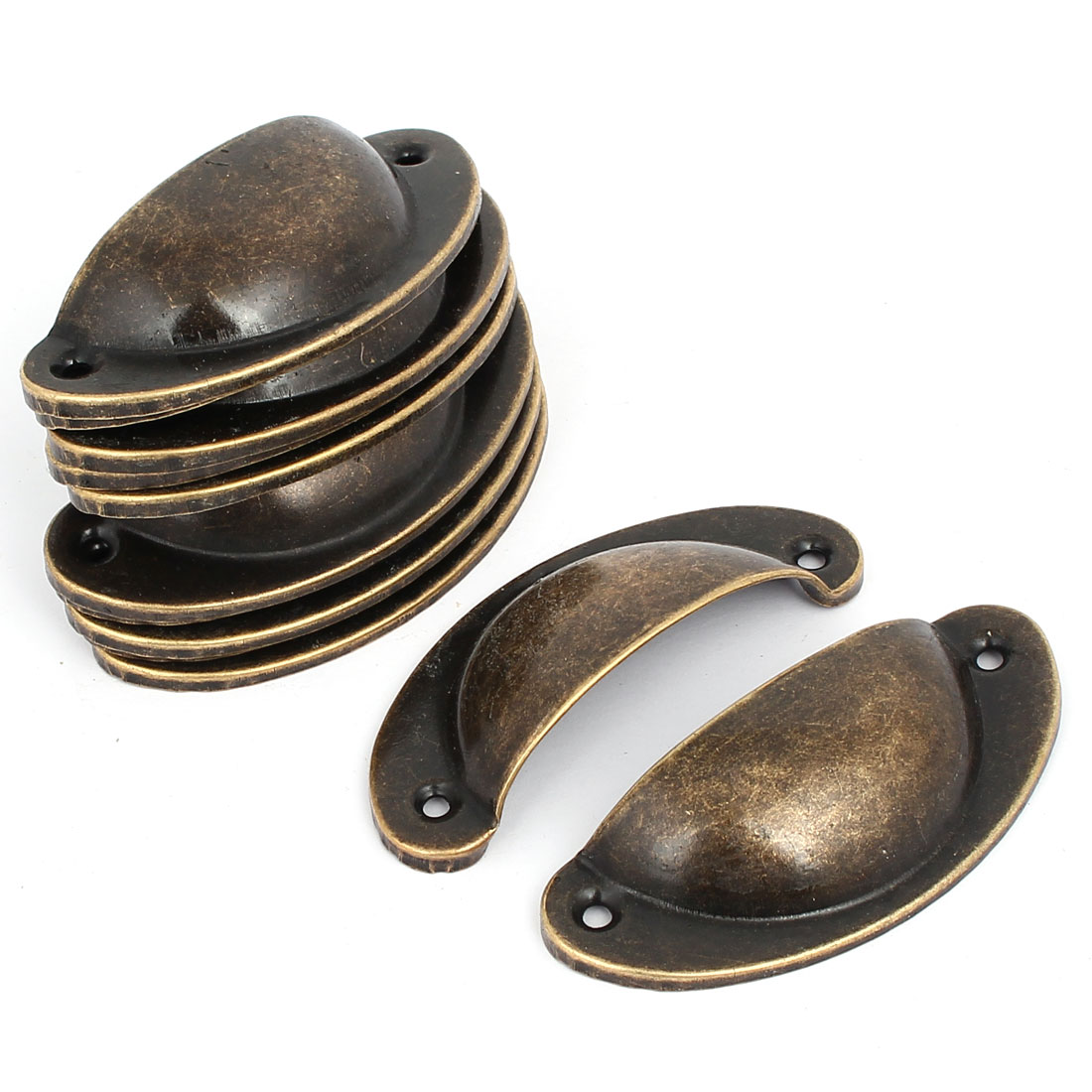 Drawer Iron Antique Style Shell Cup Pull Handles Bronze Tone 81mm Length  12pcs