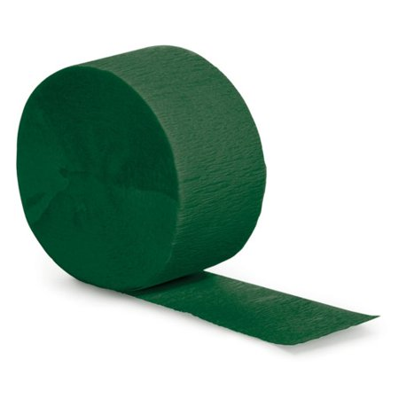 Hunter Green Party Supplies Crepe Paper Streamer, 81 Foot Roll. - Crepe Paper Rolls