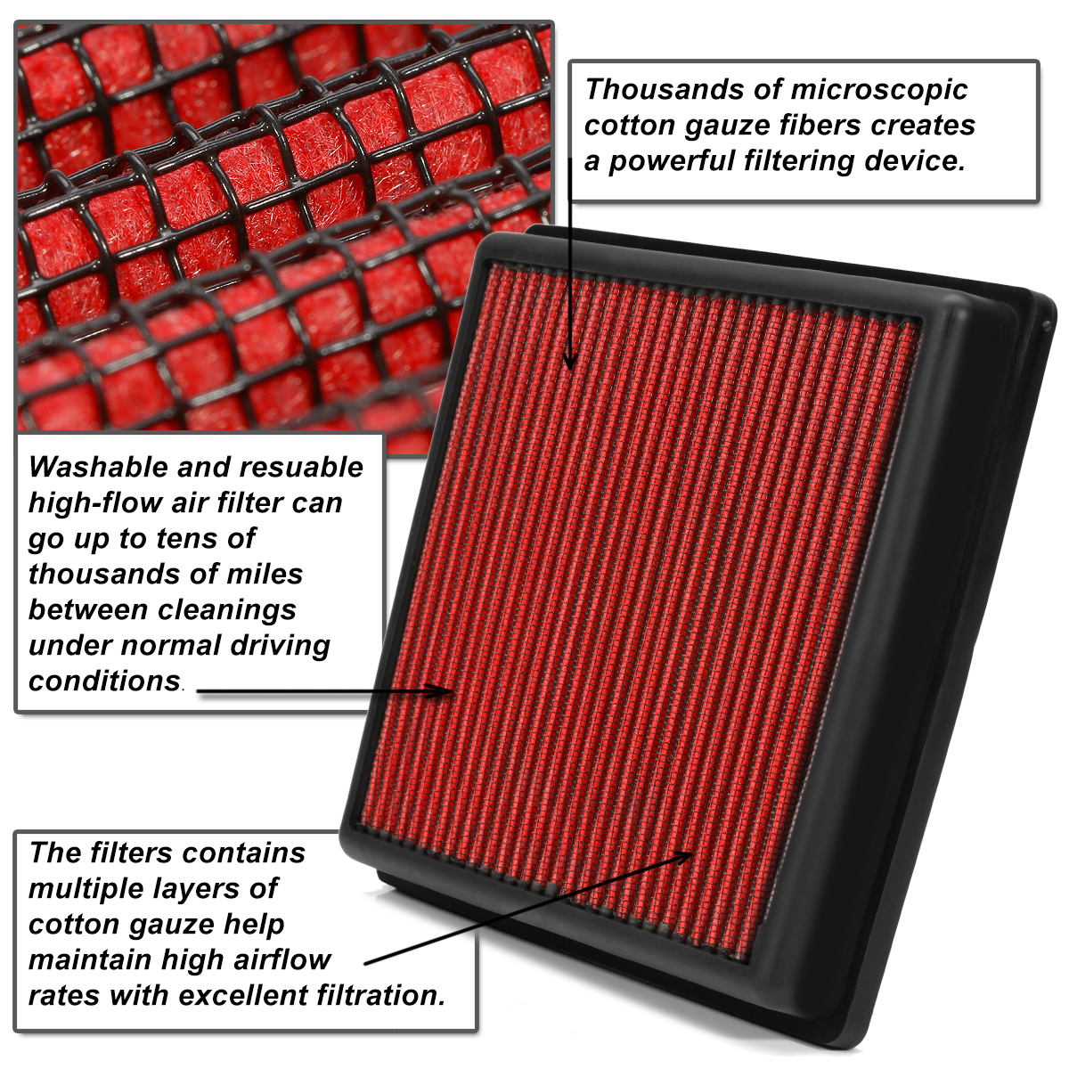 WASHABLE DROP IN PANEL PERFORMANCE AIR FILTER RED FOR ACCORD//TL//TSX//CROSSTOUR