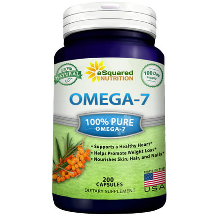 Asquared Nutrition Omega 7 Fatty Acids   200 Capsules   Natural Purified Sea Buckthorn Oil  Omega 7 Palmitoleic Acid Vitamin Supplement  No Fish Burp  Compare To Omega 3 6 9 For Weight Loss Results