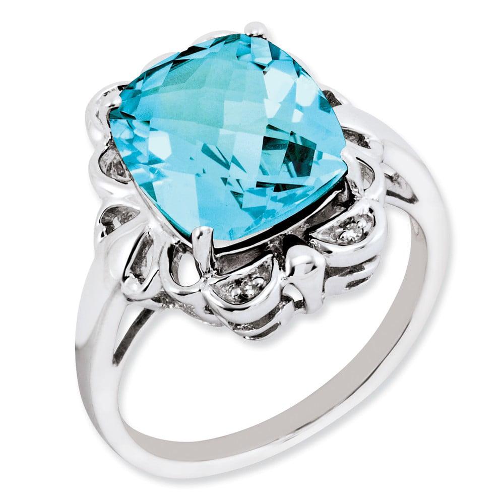 925 Sterling Silver Checkerdboard Prong Cushion Blue Topaz & Diamond Ring by gemaffair