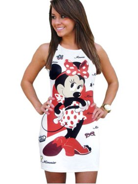 a3ea934d3b Sexy Women Summer Minnie Mouse Short Mini Dress Bodycon Party Evening Sundress  Long Tops