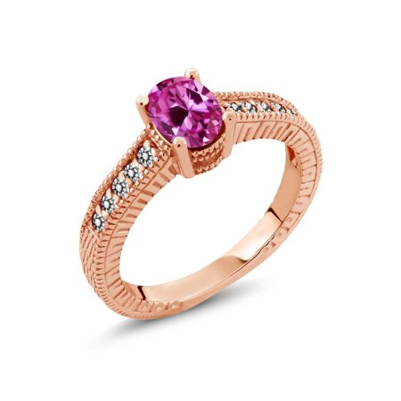 (1.33 Ct Pink Created Sapphire White Diamond 18K Rose Gold Plated Silver Ring)