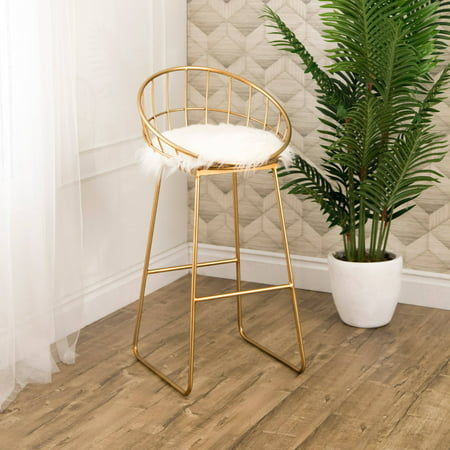 Devon & Claire Genie Gold And Faux Fur Bar - Claire Stool