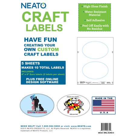"""Blank Craft Labels - High Gloss, Vinyl, Water Resistant, 4"""" X 6"""" Euro - 5 Sheets - 10 Labels"""