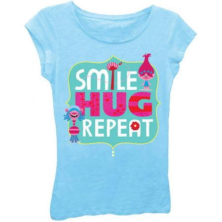 015579b95 Trolls - Poppy and Cooper Glitter Graphic T-Shirt (Little Girls) - Walmart .com