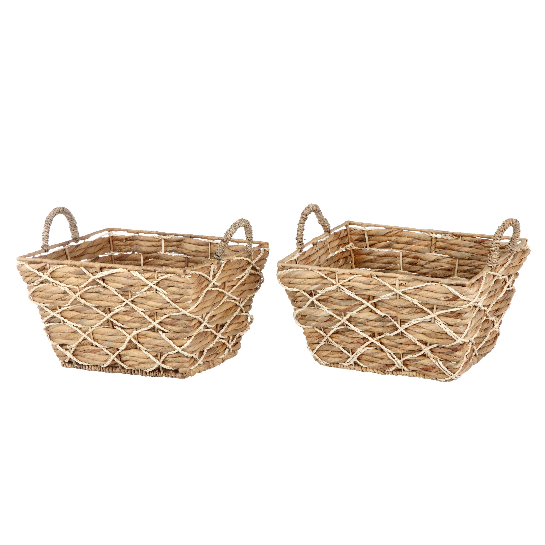 Better Homes & Gardens Rectangle Water Hyacinth 2pk Basket Set