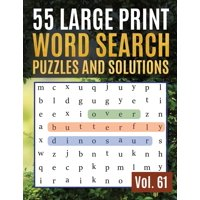 Find Words for Adults & Seniors: 55 Large Print Word Search Puzzles and Solutions: Word Search Puzzle: Wordsearch puzzle books for adults entertainment Large Print (Paperback)(Large Print)