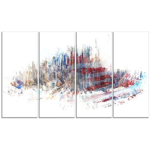 DESIGN ART 'Red, White and Blue' 48 x 28-inch 4-panel Cityscape Canvas Art Print by Overstock