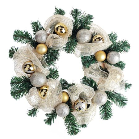 Decorated Gold Mesh Ribbon Christmas Wreath, Green/Champagne, 21-Inch ()