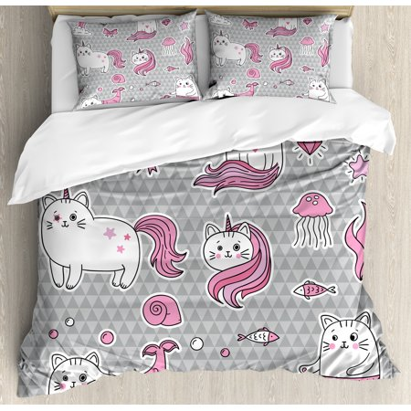 Unicorn Cat Queen Size Duvet Cover Set, Cute Cat Unicorn and Mermaid Fishes Bubbles Hearts Underwater Theme, Decorative 3 Piece Bedding Set with 2 Pillow Shams, Grey Pale Pink White, (2 Piece Printed Hearts)