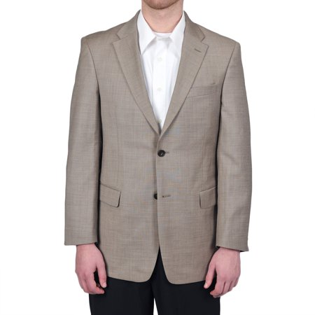 tommy hilfiger mens 2 button side vent trim fit 100% wool suit separate coat,  tan solid, 38 long Washable Wool Suits