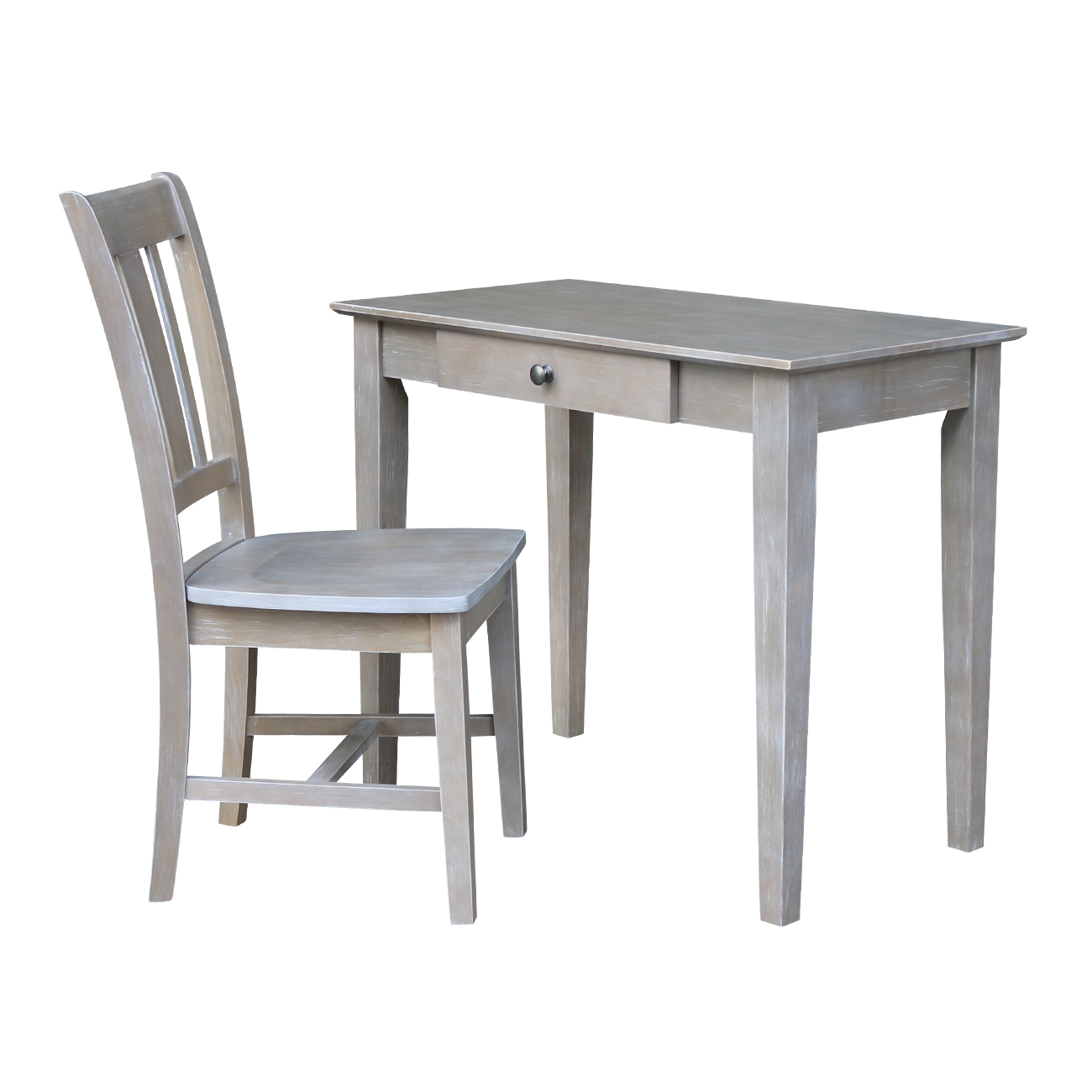 Small Size Desk with Chair Set in Washed Gray Taupe
